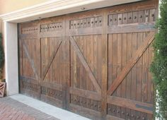 Solid Wood Garage Door Series :: Alpine - Carriage Barn Solid Wood Garage Door with V-Grooved Panel - Main Garage Doors Inc. Your Main Source for All Overhead Sectional Residential or Commercial Garage Doors Strong & Beautiful Designs in Solid Wood, Steel, Insulated, Fiberglass, Contemporary or Custom Design