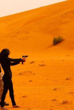 Michelle Rodriguez in the Saudi desert.