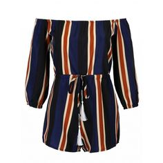 Choies Multicolor Stripe Off Shoulder 3/4 Sleeve Romper Playsuit (£16) ❤ liked on Polyvore featuring jumpsuits, rompers, multi, colorful rompers, off shoulder romper, stripe romper, 3/4 sleeve romper and colorful romper