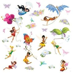 Bring home the magic of the Disney Fairies with this enchanting set of wall decals. Featuring Tinker Bell, Fawn, Iridessa, Rosetta, and Silvermist, this set is sure to delight little girls who love the sweet and charming Disney Fairies. Plus, many of the fairies have glitter elements! Match these stickers with the coordinating border, or try out the giant Tinker Bell decal (both sold separately) for more fairy fun!
