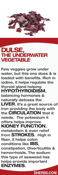 Dulse: Rich in iodine, it helps regulate the thyroid gland…