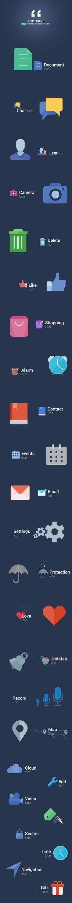 IMPICONS - Modern Flat style Free Icon Set - Freebie No: 116