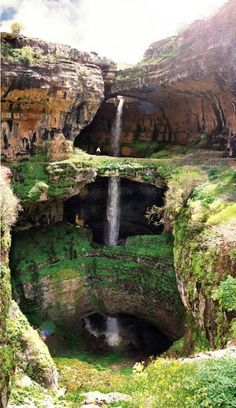 The Baatara gorge waterfall.The Baatara gorge waterfall (Balaa gorge waterfall) is a waterfall in the Tannourine, Lebanon. The waterfall drops 255 metres ft) into the Baatara Pothole, a cave of Jurassic limestone located on the Lebanon Mountain Trail. Places To Travel, Places To See, Travel Destinations, Dark Places, Hiding Places, Travel Tourism, Usa Travel, Places Around The World, Around The Worlds
