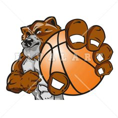 Mascot Clipart Image of Bears Mascot Holding Basketball Graphic Color Player