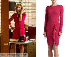 Next stop: Pinterest It is the St. John Collection Red Milano Knit Bateau Neck Long Sleeve Draped Dress.