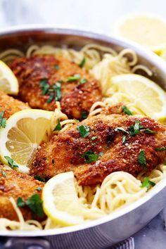Crispy Parmesan Chicken with Creamy Lemon Garlic Pasta | The Recipe Critic