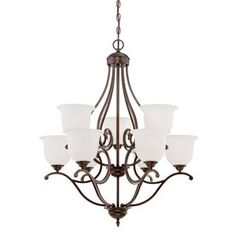 Millennium Lighting Courtney Lakes 30-In 9-Light Rubbed Bronze Etched