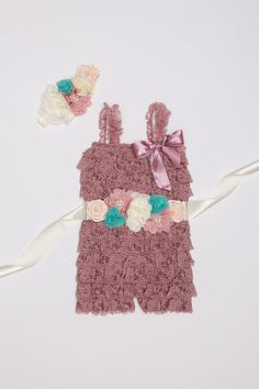3 piece Dusty Pink Vintage Lace Romper set Mauve by BabyBouteek
