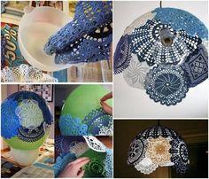 DIY Lampenschirm aus zusammengeklebten Häckeldeckchen