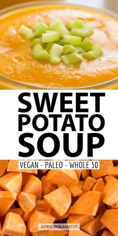 This sweet potato soup is great for beginners people on the Paleo diet or on the whole 30 diet it is whole 30 compliant and taste delicious. You can easily make it on the stove top or in a slow cooker like a crockpot or an instant pot. Easy Soup Recipes, Easy Dinner Recipes, Vegan Recipes, Easy Meals, Yummy Recipes, Dessert Recipes, Yummy Food, Healthy Vegetable Recipes, Vegetable Side Dishes