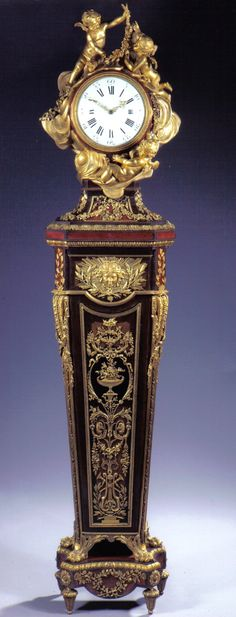 "Fabulous Louis XVI style ormolu-mounted amaranth, tulipwood, sycamore and parquetry pedestal ""Régulateur de Parquet"" clock attributed to Jean-Henri Riesener, France 18th Cent."