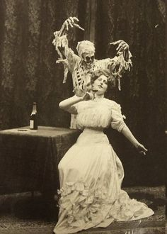 """z halloween A Vaudeville performance based on the old English ballad """"Death and the Lady"""". Photographed by Joseph Hall, 1906 4 Vintage Bizarre, Creepy Vintage, Bazar Bizarre, La Danse Macabre, Ghost Photography, Macabre Photography, Photography Aesthetic, Photography Portraits, Victorian Photography"""