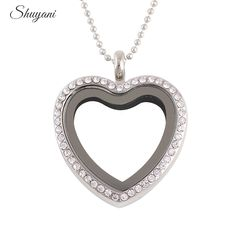 10PCS Free Chain 30mm Crystal Heart Floating Locket for Charms Magnetic Glass Living Memory Locket Pendant Necklace
