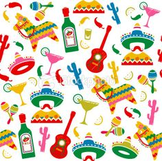 Mexican Party Seamless Pattern Royalty Free Stock Vector Art Illustration