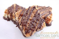 These homemade girl scout cookies samoas bars are the perfect cookie substitute. So simple to make and packed full of coconut, caramel and chocolate flavor.