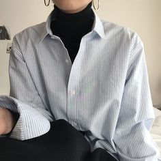 I love this combination! the black roll neck under a simple shirt #KoreanFashion