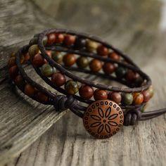 Earthy leather wrap bracelet. Rustic beaded by SinonaDesign