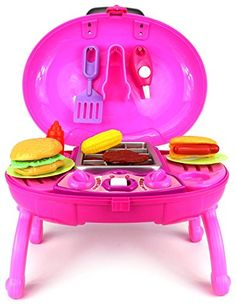 Barbecue BBQ Grill Children's Kid's Toy Kitchen & Food Play Set with Lights, Sounds (Colors May Vary) - Play Kreative TM -- Click on the image for additional details.