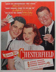 1947 Perry Como CHESTERFIELD Arthur Godfrey JO STAFFORD Cigarettes Vintage Advertisement Smoking
