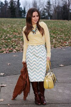 So inspired by cori's style on la vie petite (and love this chevron skirt)