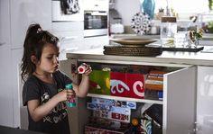 Create child-friendly storage cupboards