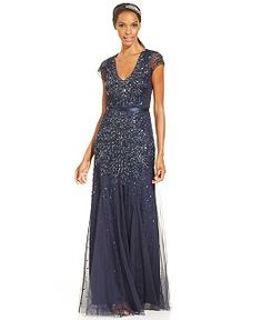 Adrianna Papell Elbow Sleeve Illusion Embellished Gown Dresses Women Macy S