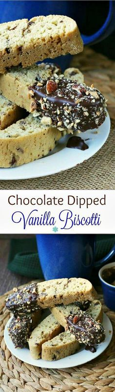 Chocolate Dipped Vanilla Biscotti adds decadence to your morning coffee. Easy twice baked cookies add a little sumpin' sumpin' to enjoy as you relax.