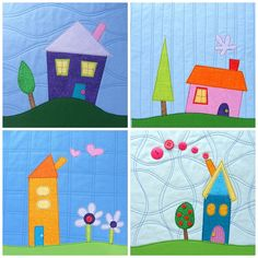 Make a fun house quilt with the Shiny Happy Houses quilt pattern! House Quilt Patterns, House Quilt Block, House Quilts, Quilt Block Patterns, Quilt Blocks, Fun House, Happy House, Quilt As You Go, Foundation Paper Piecing
