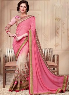 Amazing Pink And White Shaded Soft Net Georgette Saree