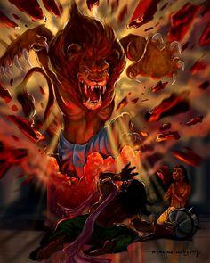 Vishnu Avatar Half Man Half Lion Lord Narsimha defeated demon Hiranyakashipu to save Lords sincere devotee Prahlad maharaj. Shiva Tandav, Shiva Art, Krishna Art, Hindu Art, Radhe Krishna, Shri Hanuman, Lord Shiva, Shiva Meditation, Hanuman Images