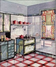 1929 Vintage Vitrolite Kitchen by American Vintage Home, via Flickr