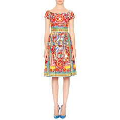 Dolce & Gabbana Carretto-Print Cotton Fit-&-Flare Dress