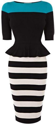 KAREN MILLEN ENGLAND Peplum Knit Dress