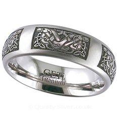 Geti Celtic Two Dogs Titanium Ring