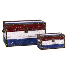 2 Piece Red, White & Blue Stripes Design Trunk Set (Large & Small)