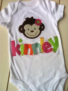 Girl Monkey Embroidered