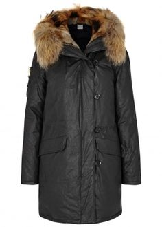 Double Downtown charcoal fur-trimmed parka