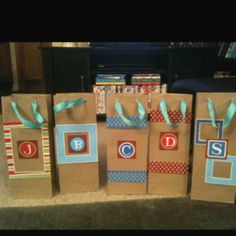 Quick and easy Christmas gift bags using scrap booking cut outs
