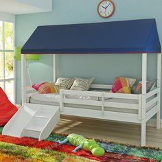 Cama Infantil Prime com Grade de Proteção, Telhado Completo e Kit Escadinha/ Escorrega - Casatema - CasaTema