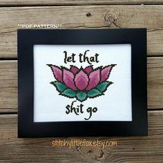 Modern Cross Stitch Pattern Lotus Crossstitch Motivation