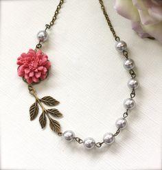 A Unique Rose Pink Flower Oxidized Branch Leaf  Silver by Marolsha, $30.50