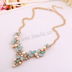 Resin Necklace, Zinc Alloy, with ABS Plastic Pearl & iron chain & Resin, with 8.5cm extender chain, Leaf, gold color plated, twist oval chain & faceted, lead & cadmium free, 40mm,china wholesale jewelry beads