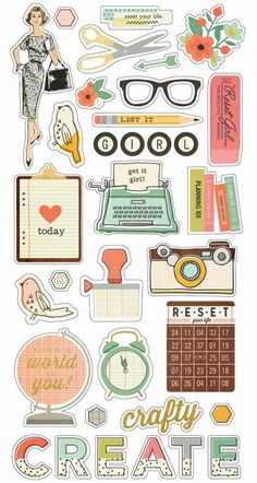 The Reset Girl Chipboard by Simple Stories for Scrapbooks, Cards, & Craftin. The Reset Girl Chipboard by Simple Stories for Scrapbooks, Cards, & Crafting found at FotoBel Printable Planner Stickers, Journal Stickers, Scrapbook Stickers, Printable Labels, Simple Stories, Tumblr Stickers, Cute Stickers, Craft Stickers, Reset Girl