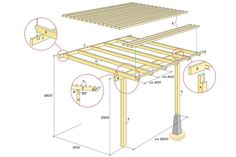 Light pergola without cover