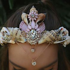 Mermaid, shell rhinestones diadem.