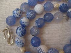 Delfts Blue gemstones quarts and silver necklace  by madebymirjam