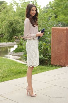 Women's fashion | Elegant neutral blouse, lace pencil midi skirt, blush heels, clutch