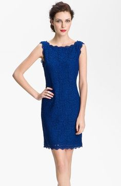 bridesmaid lace dress prussian royal blue | Adrianna Papell Boatneck Lace Sheath Dress (Regular & Petite) | Nordstrom