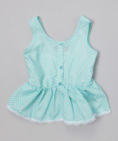 Look what I found on #zulily! Frozen Aqua Polka Dot Ruffle Button-Up Tank - Toddler & Girls by Chillipop #zulilyfinds