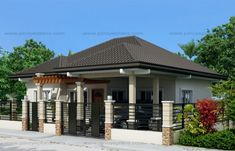 Pinoy eplans presents Clarissa model, a one story house with 3 bedrooms and 2 baths. With a total floor area of 108 sq., this one story house is accommodated in a lot with 228 sq. Modern Bungalow House Design, House Floor Design, Bungalow House Plans, Small House Design, Dream House Plans, Modern House Plans, Duplex House, Modern Houses, Tiny Houses